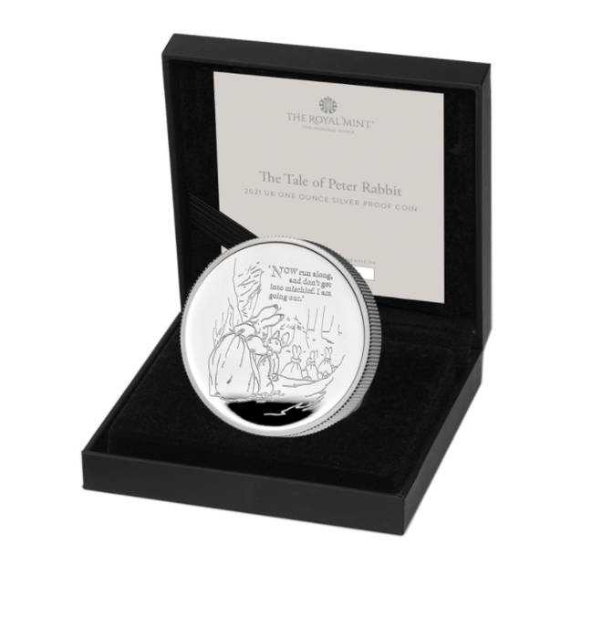 The undistributed coin is engraved from an original illustration by Beatrix Potter